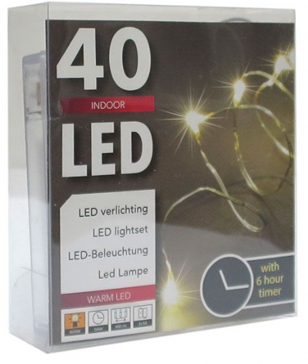 LED  String Chain Fairy Lights with Silver Wire - 40 Micro LEDs  4mtr length  Plus TIMER